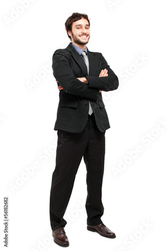 Full length businessman isolated on white