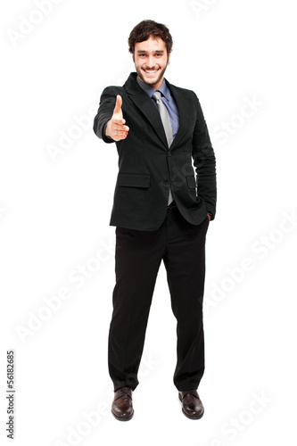 Businessman giving his hand to you