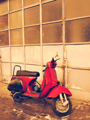 Old italian red scooter