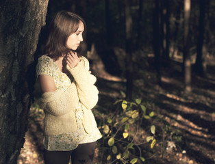 Portrait of Woman in Autumn Forest