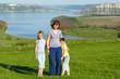 Family and Bakota spring view (Ukraine)