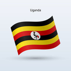 Uganda flag waving form. Vector illustration.