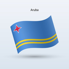 Aruba flag waving form. Vector illustration.
