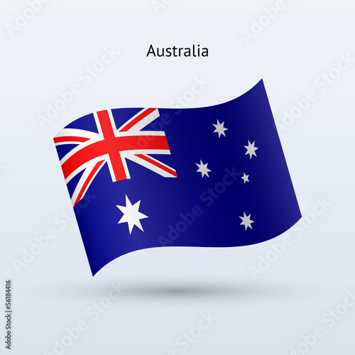 Australia flag waving form. Vector illustration.