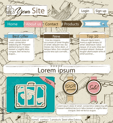 Website template with vintage elements.