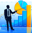 Businessman shows growing chart