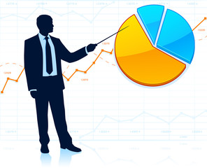 Businessman shows pie chart