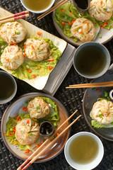 steamed dumplings tablescape