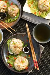 steamed dumplings plated