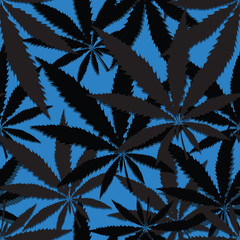 Wallpaper with leaves of cannabis