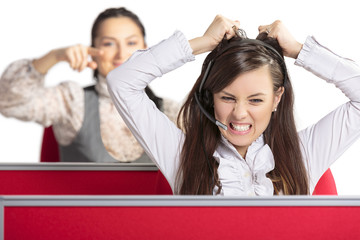 Enraged call center woman operator. Bad day at work