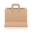 Realistic Beige Paper Shopping Bag. Vector Illustration