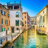 Venice sunset in Rio Greci water canal and buildings. Italy