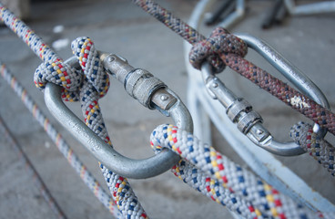 Climbing equipment - knot, rope, carabiner