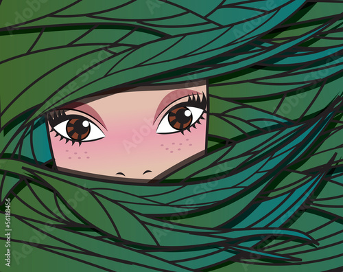 Fairy forest girl, vector illustration