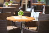 Fototapety Outdoor restaurant  cafe chairs with table