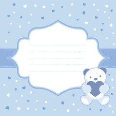 Blue greeting card with teddy bear for baby boy. Baby shower.
