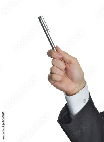 Executive pointing with pen on a board