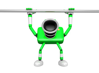 Green Camera character is hanging in horizontal bar. Create 3D C