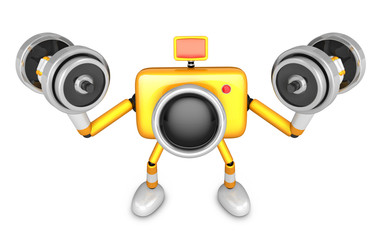 3D Yellow Camera character a Dumbbell curl Exercise. Create 3D C
