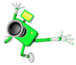 The Green Camera Character in Dynamic photos of the jump shot ca