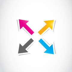 colorful deciding arrows, way choice