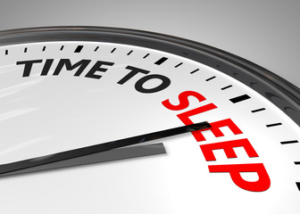 Concept of rest - clock with words TIME TO SLEEP