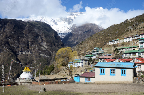 Mountains around capital of sherpas - Namche Bazar, Nepal, Asia