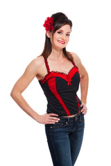 Rockabilly Girl with Bustier Top and Jeans