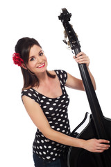 Rockabilly Girl Playing the Double Bass