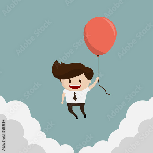 Business man - Fly with Balloon