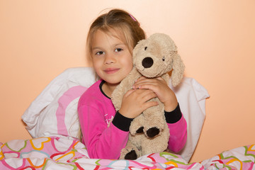 Girl And Plush Dog