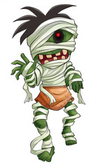 Cartoon illustration of scary Halloween mummy
