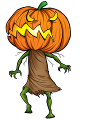 Cartoon illustration of Halloween ghost with pumpkin head