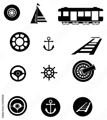 Transportation silhouette icon set