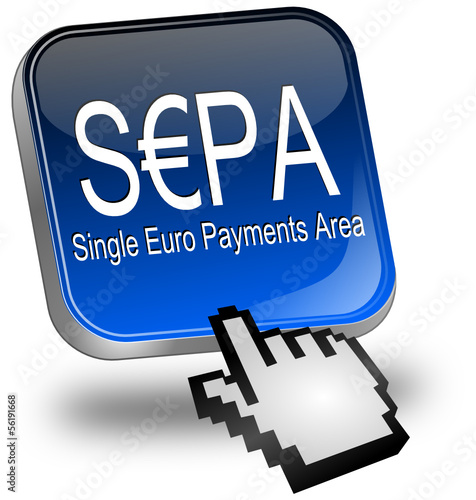 SEPA - Single Euro Payments Area - Button mit Cursor