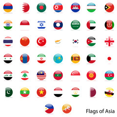 Circle of the flag Asia vector