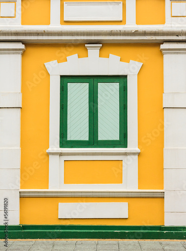 Classic Wooden Window of Historical Building, Bangkok