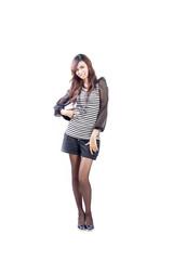 Beautiful teen girl, headshot isolated on white background