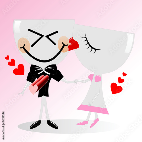 Couple glass kissing