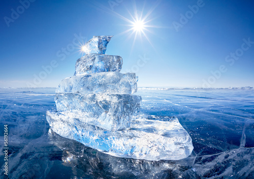 Foto op Canvas Antarctica 2 Ice ship on winter Baical