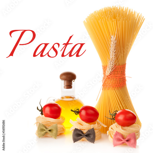 Italian pasta, olive oil, garlic and tomatoes.