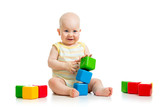 little boy with tools and building blocks