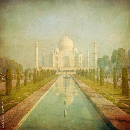 Vintage image of Taj Mahal, Agra, India