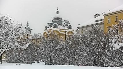 Heavy snowing in Zagreb