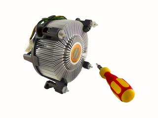 Processor heatsink cooler fan and screw-driver