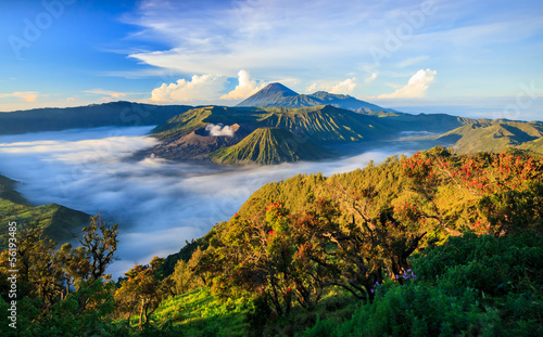 Leinwandbild Motiv Bromo vocalno at sunrise, East Java, , Indonesia