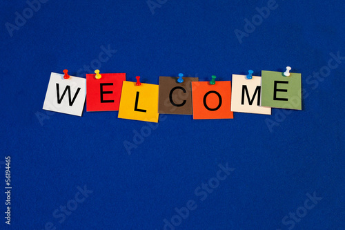 Welcome - business and PR sign