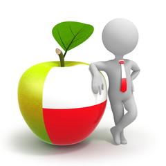 Apple with Poland flag and businessman