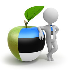 Apple with Estonia flag and businessman